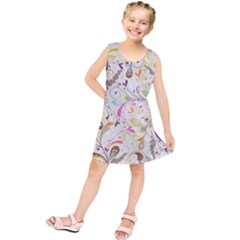 Colorful Seamless Floral Background Kids  Tunic Dress by TastefulDesigns