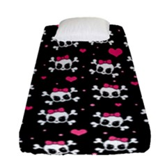 Cute Skulls  Fitted Sheet (single Size)