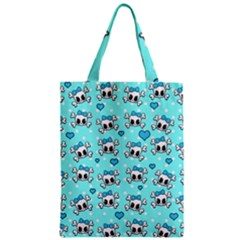 Cute Skull Zipper Classic Tote Bag by Valentinaart