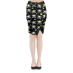 Cute Skull Midi Wrap Pencil Skirt