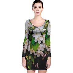 Tree Blossoms Long Sleeve Velvet Bodycon Dress