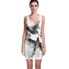 Colorful Love Birds Illustration With Splashes Of Paint Sleeveless Bodycon Dress