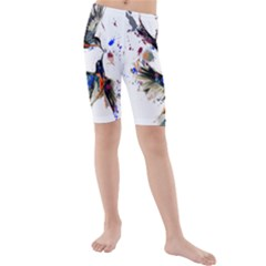 Colorful Love Birds Illustration With Splashes Of Paint Kids  Mid Length Swim Shorts