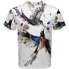 Colorful Love Birds Illustration With Splashes Of Paint Men s Cotton Tee by TastefulDesigns