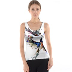 Colorful Love Birds Illustration With Splashes Of Paint Tank Top by TastefulDesigns