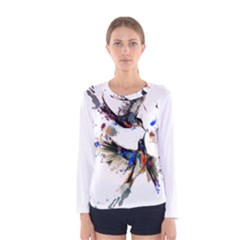 Colorful Love Birds Illustration With Splashes Of Paint Women s Long Sleeve Tee