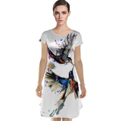 Colorful Love Birds Illustration With Splashes Of Paint Cap Sleeve Nightdress