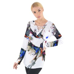 Colorful Love Birds Illustration With Splashes Of Paint Women s Tie Up Tee