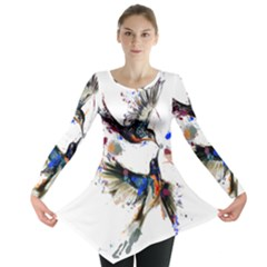 Colorful Love Birds Illustration With Splashes Of Paint Long Sleeve Tunic