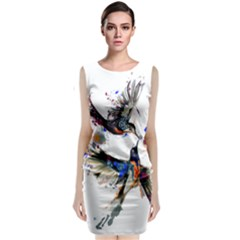 Colorful Love Birds Illustration With Splashes Of Paint Classic Sleeveless Midi Dress