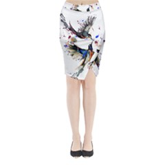 Colorful Love Birds Illustration With Splashes Of Paint Midi Wrap Pencil Skirt by TastefulDesigns
