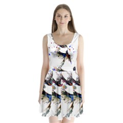 Colorful Love Birds Illustration With Splashes Of Paint Split Back Mini Dress