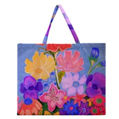 Spring Pastels Zipper Large Tote Bag by dawnsiegler