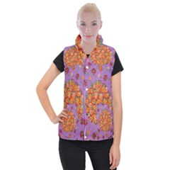 Floral Sphere Women s Button Up Puffer Vest by dawnsiegler