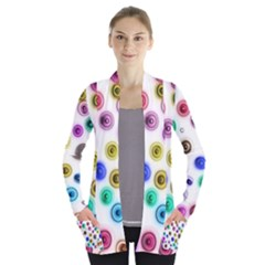 Colorful Concentric Circles        Women s Open Front Pockets Cardigan