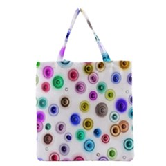 Colorful Concentric Circles              Grocery Tote Bag by LalyLauraFLM