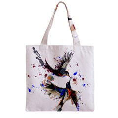 Colorful Love Birds Illustration With Splashes Of Paint Zipper Grocery Tote Bag by TastefulDesigns