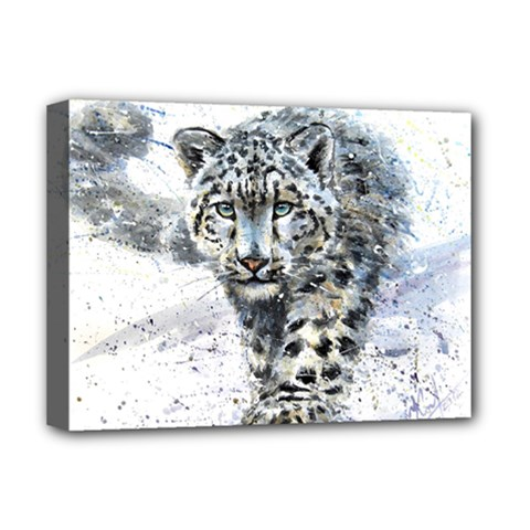 Snow Leopard 1 Deluxe Canvas 16  X 12   by kostart