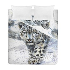 Snow Leopard 1 Duvet Cover Double Side (full/ Double Size) by kostart