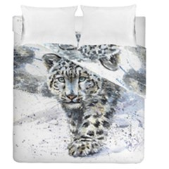 Snow Leopard 1 Duvet Cover Double Side (queen Size) by kostart