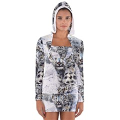 Snow Leopard 1 Women s Long Sleeve Hooded T Shirt by kostart