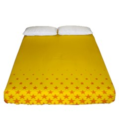 Yellow Star Light Space Fitted Sheet (queen Size) by Mariart