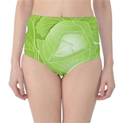 Cabbage Leaf Vegetable Green High-waist Bikini Bottoms by Mariart