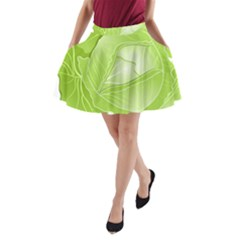Cabbage Leaf Vegetable Green A Line Pocket Skirt by Mariart