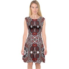 Batik Fabric Capsleeve Midi Dress by Mariart