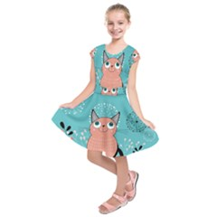 Cat Face Mask Smile Cute Leaf Flower Floral Kids  Short Sleeve Dress