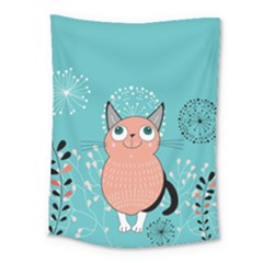 Cat Face Mask Smile Cute Leaf Flower Floral Medium Tapestry by Mariart