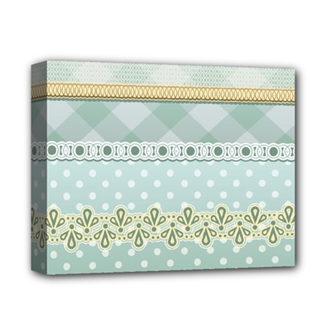 Circle Polka Plaid Triangle Gold Blue Flower Floral Star Deluxe Canvas 14  X 11  by Mariart