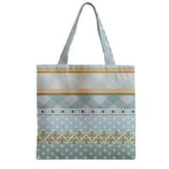 Circle Polka Plaid Triangle Gold Blue Flower Floral Star Zipper Grocery Tote Bag by Mariart