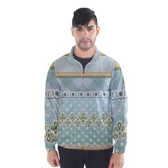 Circle Polka Plaid Triangle Gold Blue Flower Floral Star Wind Breaker (men)