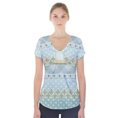 Circle Polka Plaid Triangle Gold Blue Flower Floral Star Short Sleeve Front Detail Top by Mariart