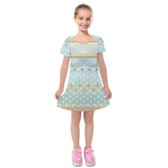 Circle Polka Plaid Triangle Gold Blue Flower Floral Star Kids  Short Sleeve Velvet Dress by Mariart
