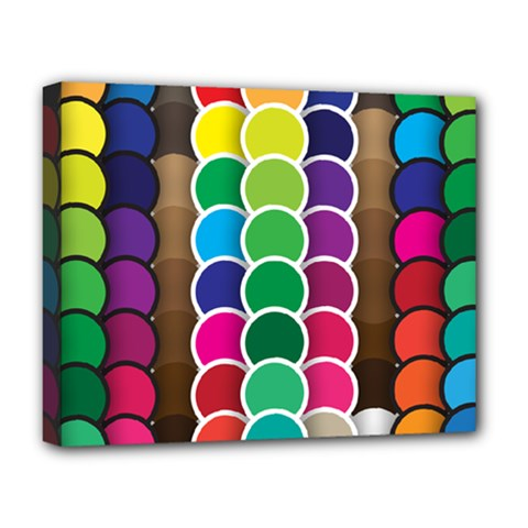 Circle Round Yellow Green Blue Purple Brown Orange Pink Deluxe Canvas 20  X 16   by Mariart