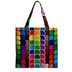 Circle Round Yellow Green Blue Purple Brown Orange Pink Zipper Grocery Tote Bag by Mariart