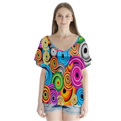Circle Round Hole Rainbow Flutter Sleeve Top