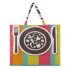 Dinerplate Tablemaner Food Fok Knife Zipper Large Tote Bag by Mariart
