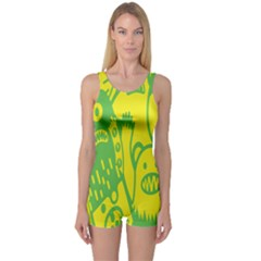 Easter Monster Sinister Happy Green Yellow Magic Rock One Piece Boyleg Swimsuit by Mariart
