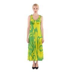Easter Monster Sinister Happy Green Yellow Magic Rock Sleeveless Maxi Dress by Mariart