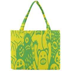 Easter Monster Sinister Happy Green Yellow Magic Rock Mini Tote Bag by Mariart