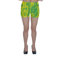 Easter Monster Sinister Happy Green Yellow Magic Rock Skinny Shorts by Mariart