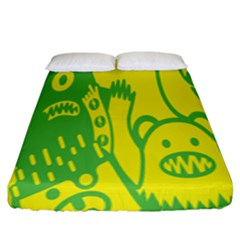 Easter Monster Sinister Happy Green Yellow Magic Rock Fitted Sheet (king Size) by Mariart