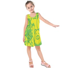 Easter Monster Sinister Happy Green Yellow Magic Rock Kids  Sleeveless Dress by Mariart