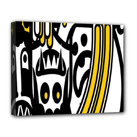 Easter Monster Sinister Happy Magic Rock Mask Face Polka Yellow Deluxe Canvas 20  X 16   by Mariart