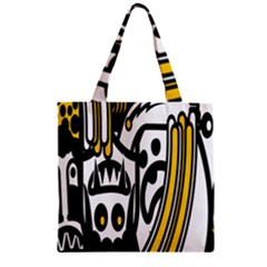 Easter Monster Sinister Happy Magic Rock Mask Face Polka Yellow Zipper Grocery Tote Bag
