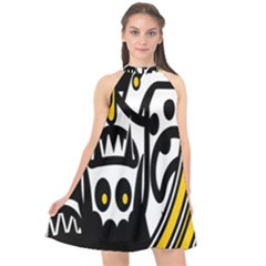 Easter Monster Sinister Happy Magic Rock Mask Face Polka Yellow Halter Neckline Chiffon Dress  by Mariart