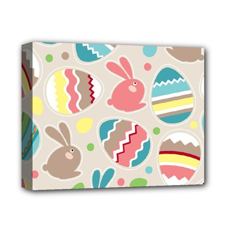 Easter Rabbit Bunny Rainbow Deluxe Canvas 14  X 11  by Mariart